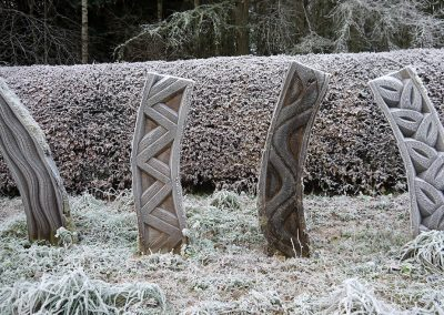 Susheila Jamieson, Inner Strength, Oak, 1750 x 450 x 450mm. Site specific work developed for open air exhibition Site specific work developed for open air exhibition ìHeartwoodî, Perthshire.